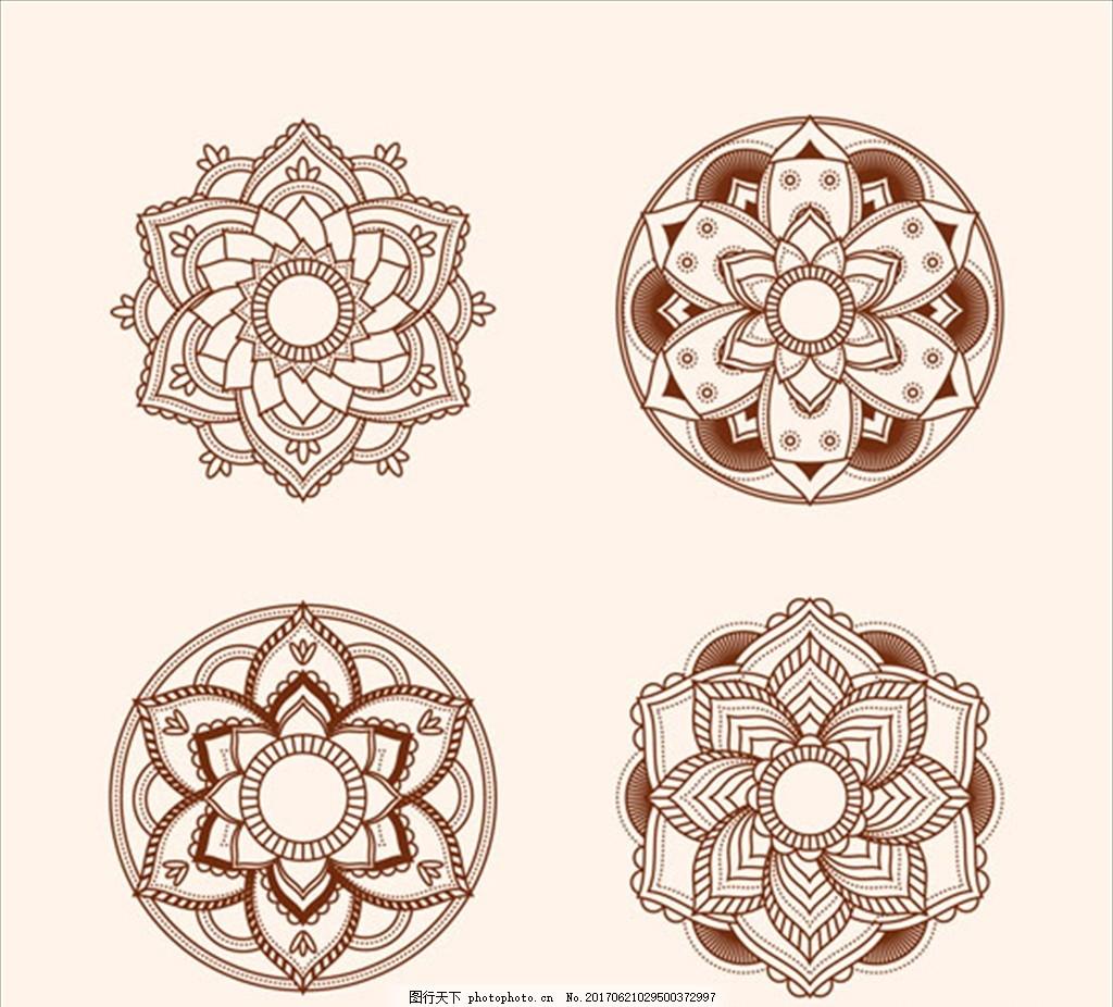 手绘漂亮的曼陀罗花纹