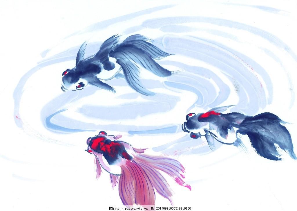 水墨画金鱼 水墨动物 鸟语花香 水墨风格 中国风 麻雀 高清绘画