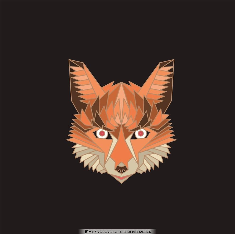 布料印花 动物图腾 动物头像 手绘动物 狐狸 手绘狐狸 红狐狸 线描