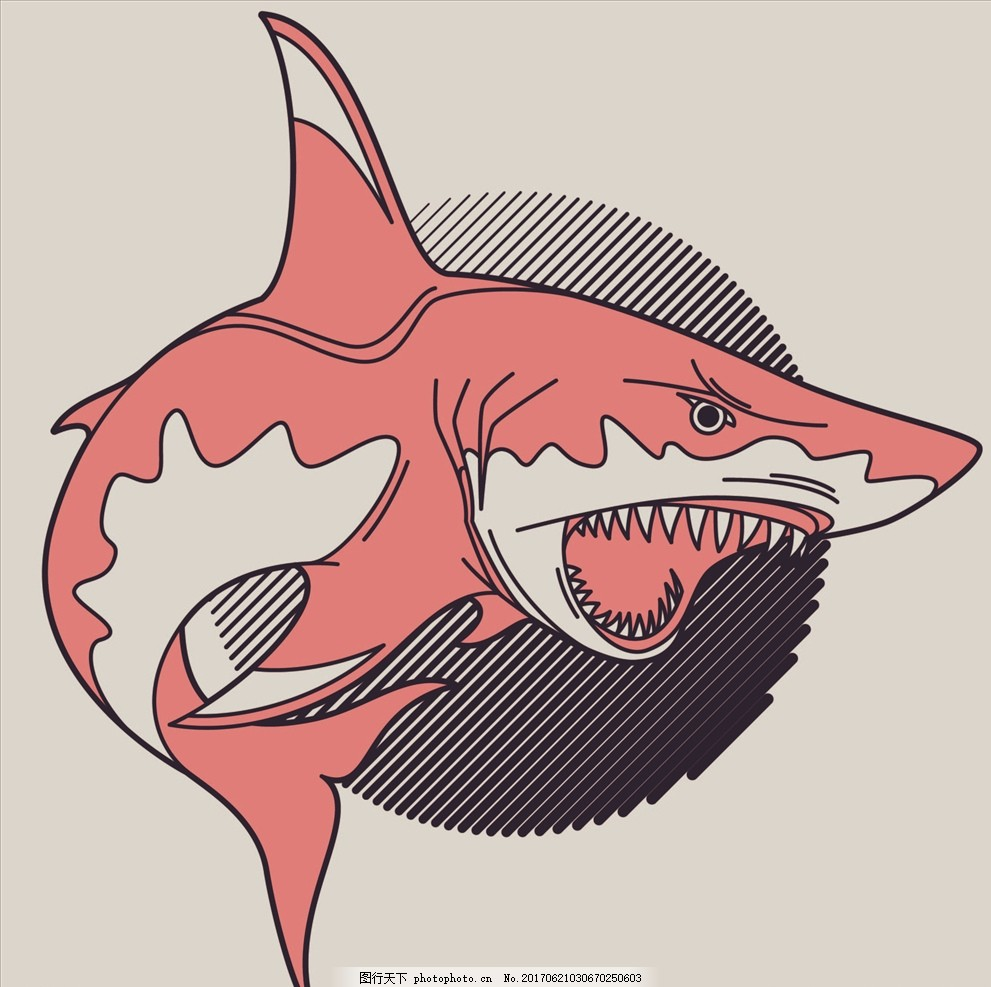 鲨鱼 海洋生物 大白鲨 手绘鲨鱼 卡通鲨鱼 鲨鱼牙齿 矢量图案共享