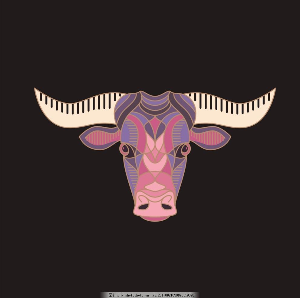 动物头像 手绘动物 牛头 公牛 牛角 牛图腾 牛头图腾 公牛矢量图 线描
