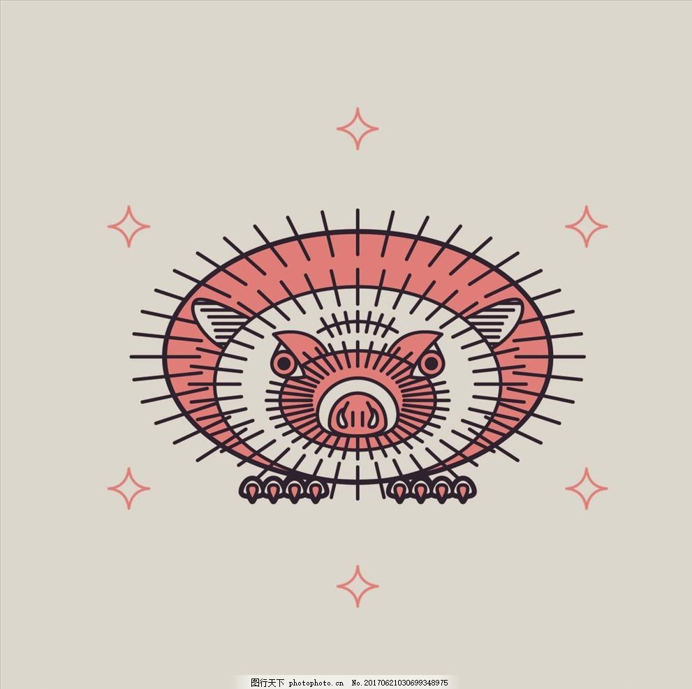 手绘线描刺猬豪猪矢量图下载