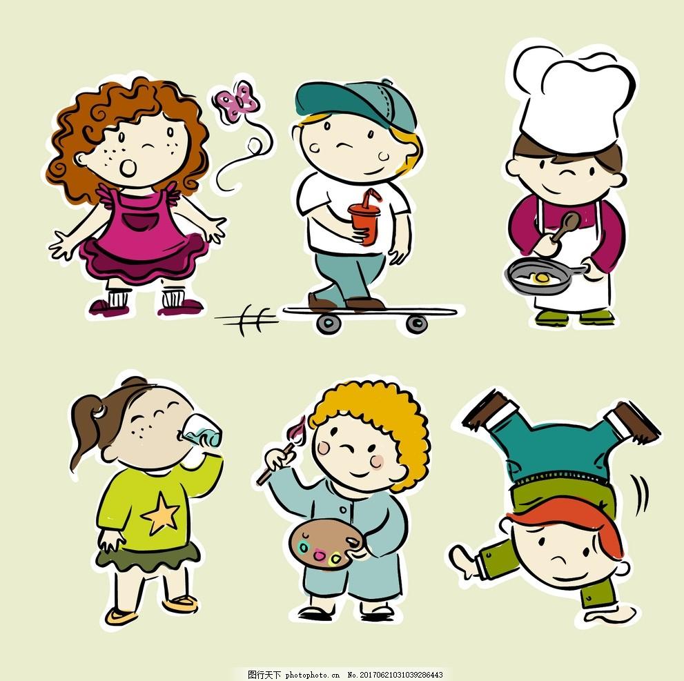 手绘活动的人 儿童 孩子 厨师 可爱 服装 饮料 男孩 烹饪 绘画 滑板