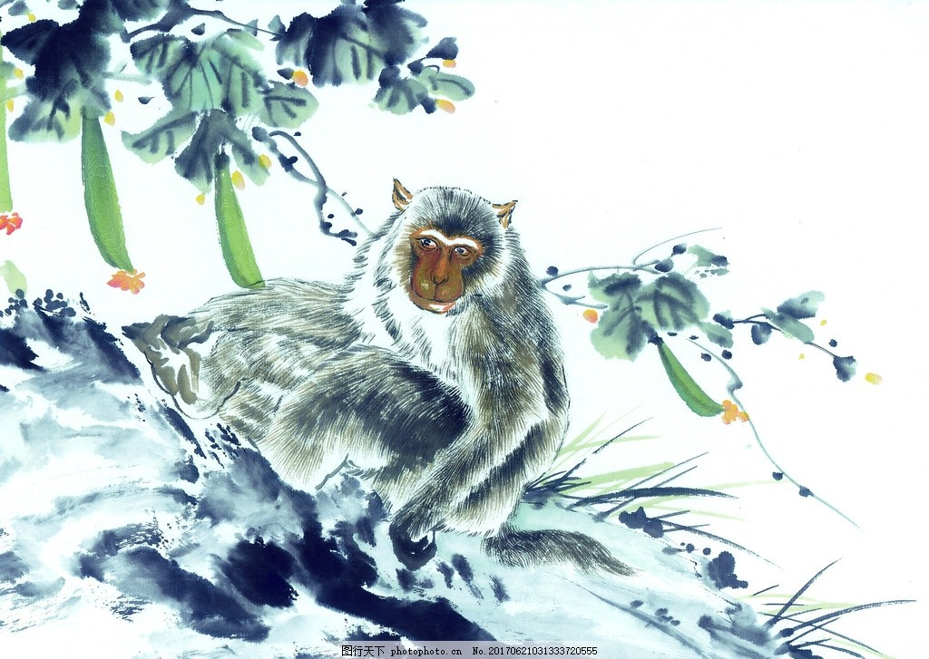 猴 水墨动物 鸟语花香 水墨画 水墨风格 中国风 麻雀 高清绘画