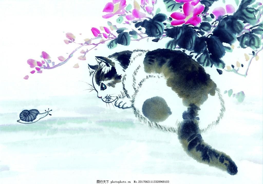 设计图库 商用素材 人物  水墨画猫 水墨动物 水墨猫 水墨画 水墨风格