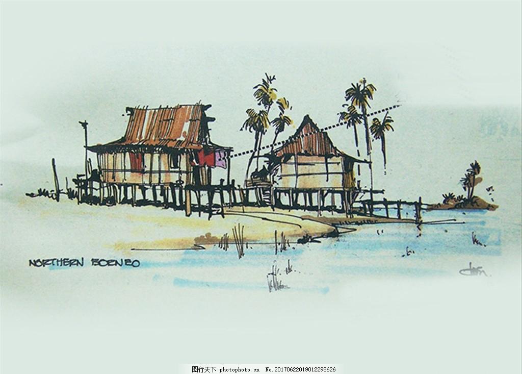 欧美风格装饰画 简笔画 速写 热带小屋 水边建筑 小木屋 稻草
