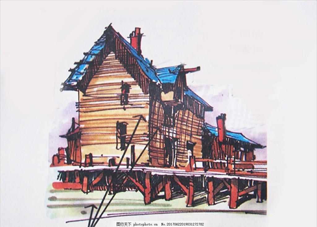 装饰画 欧美风格 简笔画 速写 野外 小木屋 建筑 自然野趣 小屋