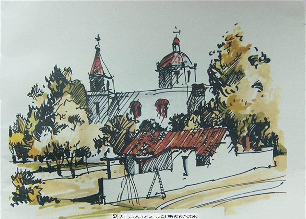 装饰画欧美风格 简笔画 速写 野外 小木屋 建筑 教堂 别墅 自然野趣