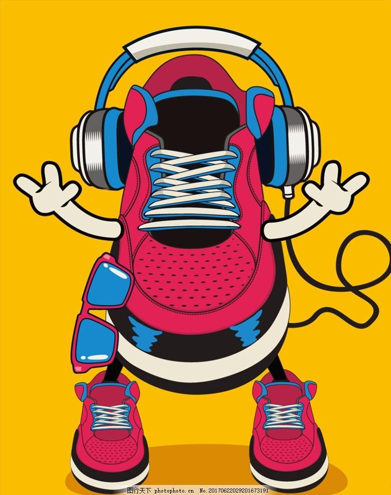卡通 鞋子 漫画 插画 t恤印花 时尚印花 手绘 设计 广告设计 招贴设计