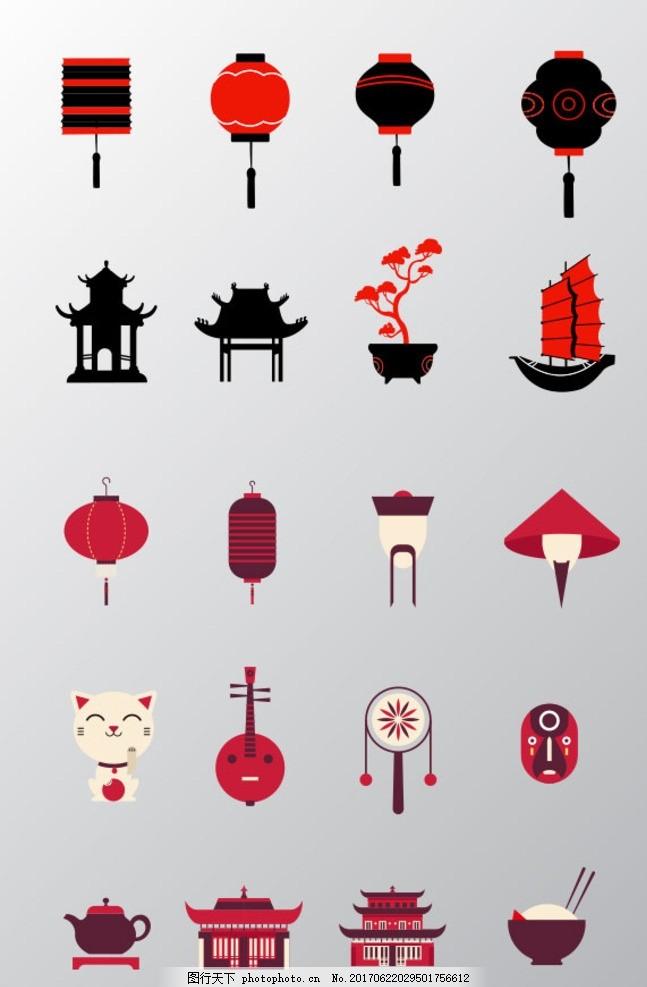 中国风主题元素 剪纸 节日素材 茶文化 茶壶 佛像 鲤鱼 太极
