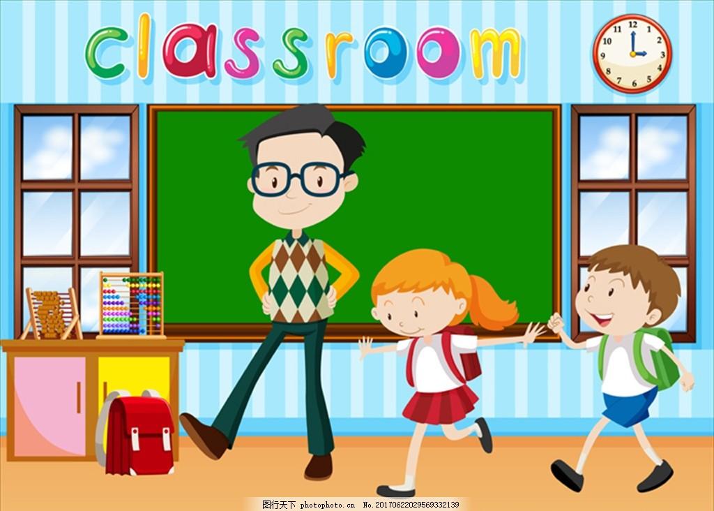 在课堂上的老师和孩子