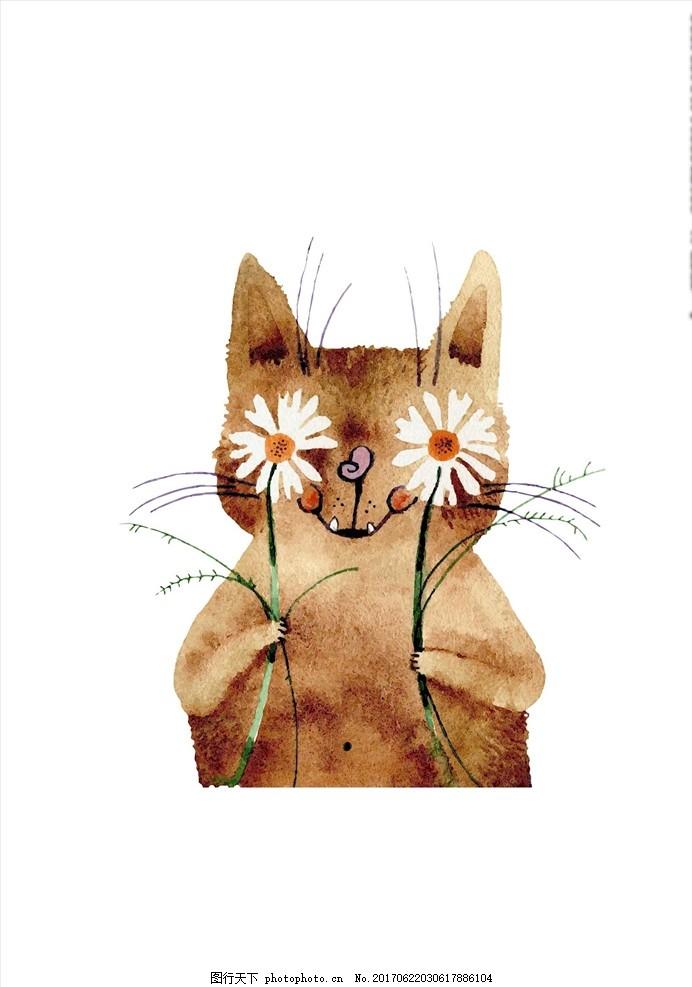 手绘卡通猫花朵图案
