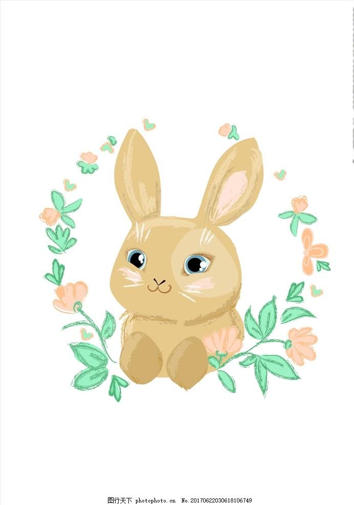 手绘花朵花卉 线描花卉 蝴蝶花卉 兔子 小兔子 卡通兔子 可爱卡通兔子