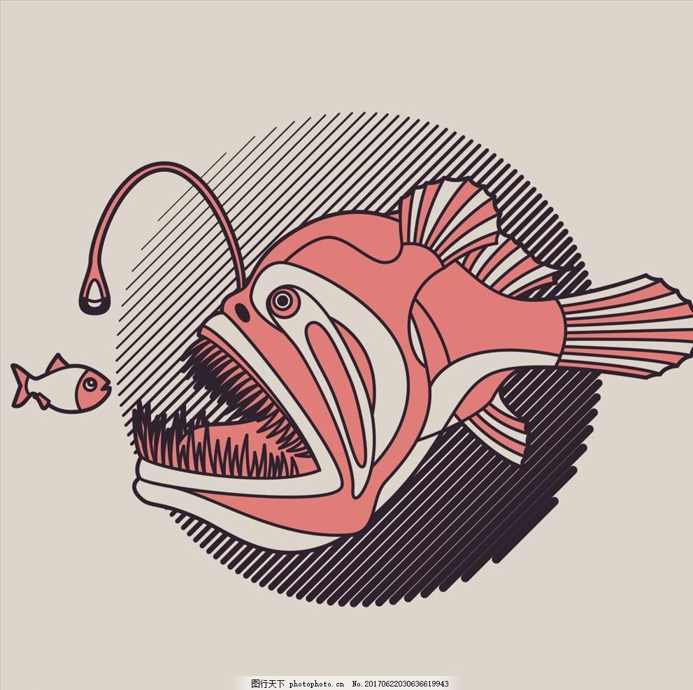 手绘线描灯笼鱼矢量图下载