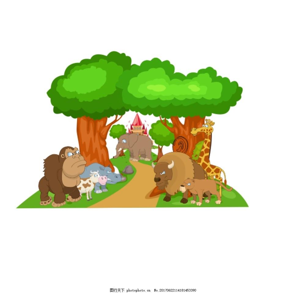 森林动物背景 卡通 运动会 对阵 动漫动画 动漫人物