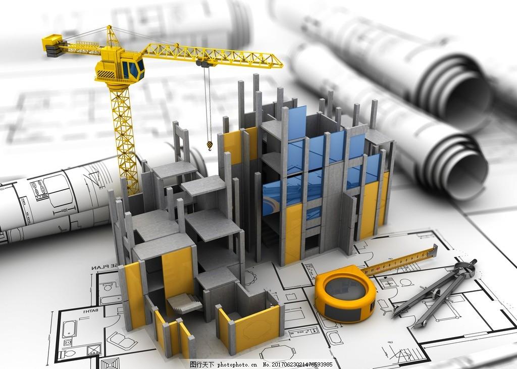 建筑设计 设计图纸 建筑物 土木工程 土建 红色房顶 搭建中的房子