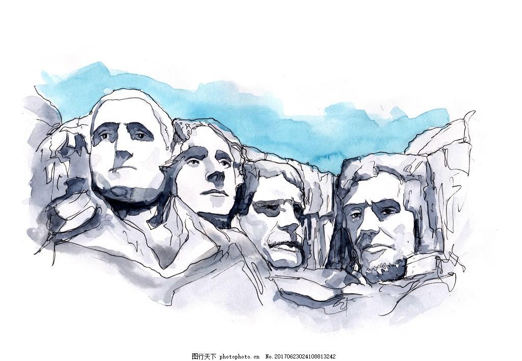 美国总统山 世界著名古迹 世界著名建筑 水彩建筑 手绘建筑 名胜古迹