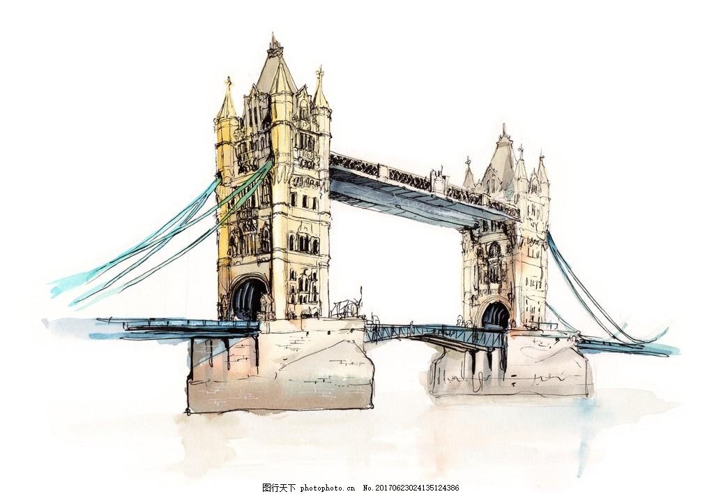 英国伦敦塔桥 世界著名古迹 世界著名建筑 水彩建筑 手绘建筑 名胜