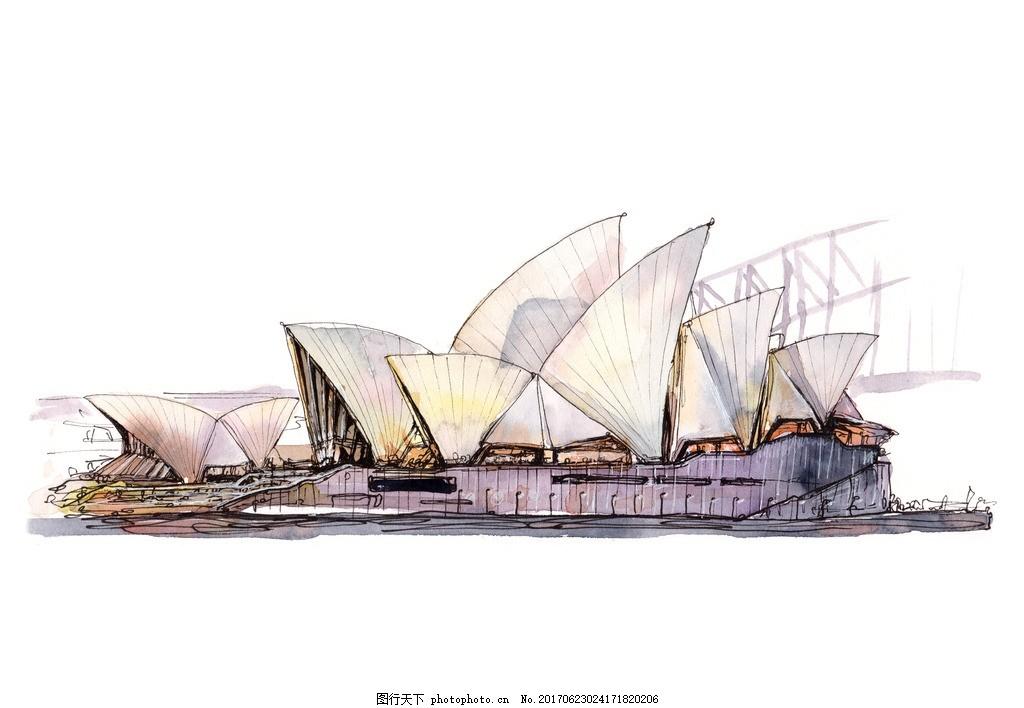 古建筑物 手绘建筑插画 旅游度假 手绘 绘画艺术 文化艺术 水彩插画