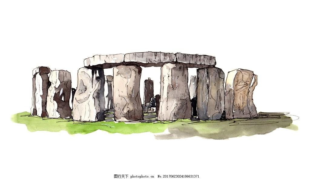英国巨石阵 世界著名古迹 世界著名建筑 水彩建筑 手绘建筑 名胜古迹