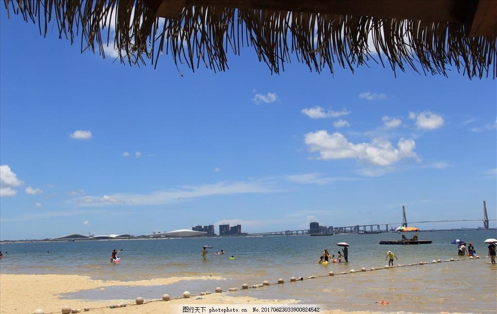 湛江海景 金沙湾 沙滩 海滨 公园 摄影 春色 美景 蓝天 白云图片