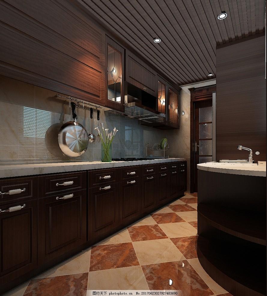 厨房效果图 室内设计 装饰 装修 家装        别墅 豪宅 欧式风格