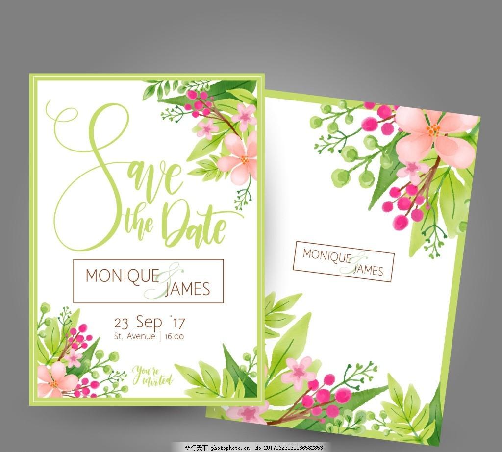 绿色 春天 夏天 婚礼卡片 田园风婚礼 卡片 请柬 花墙背景 森系绿色