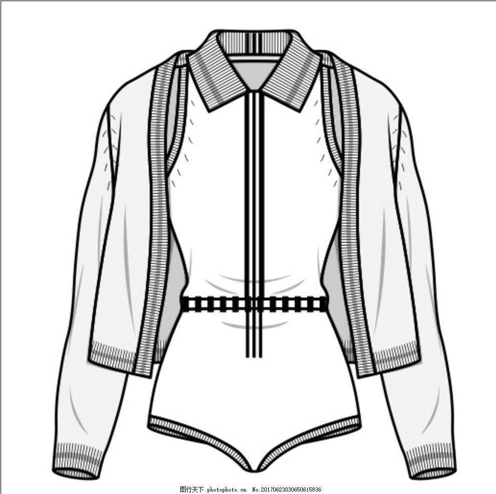 矢量女针织套装款式图