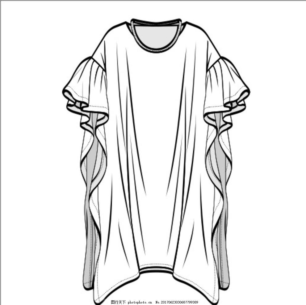 矢量衬衫雪纺连衣裙,荷叶边 宽松 女装 模特 效果图