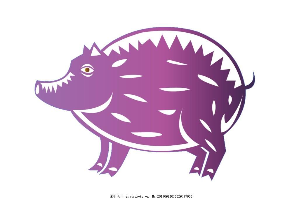 猪十二生肖矢量图 猪 矢量图 动物 卡通动物 12生肖 素描 包装 高清