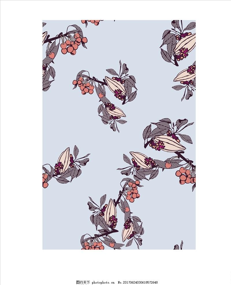线描花朵 手绘花卉 四方连续花卉 植物花卉 设计 广告设计 服装设计 a