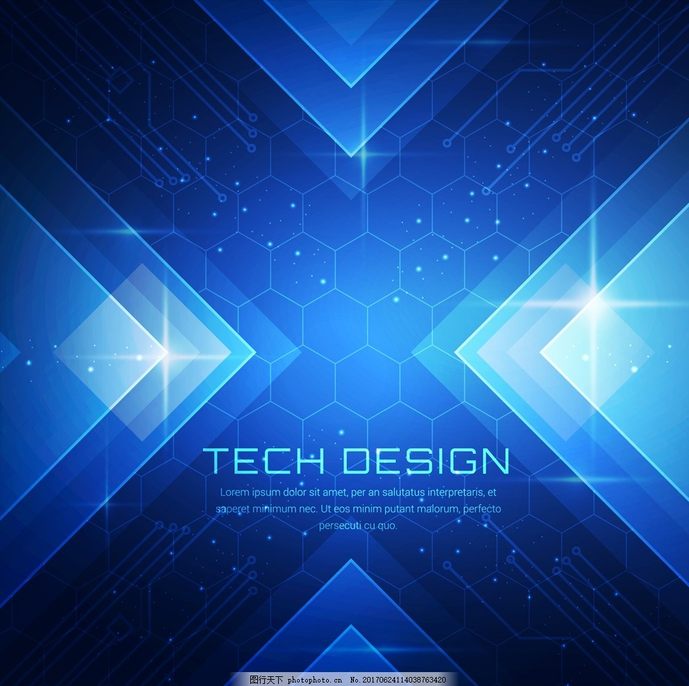科技 蓝色 几何图形 电路图 六面体 蜂窝 抽象 星光 矢量素材 设计