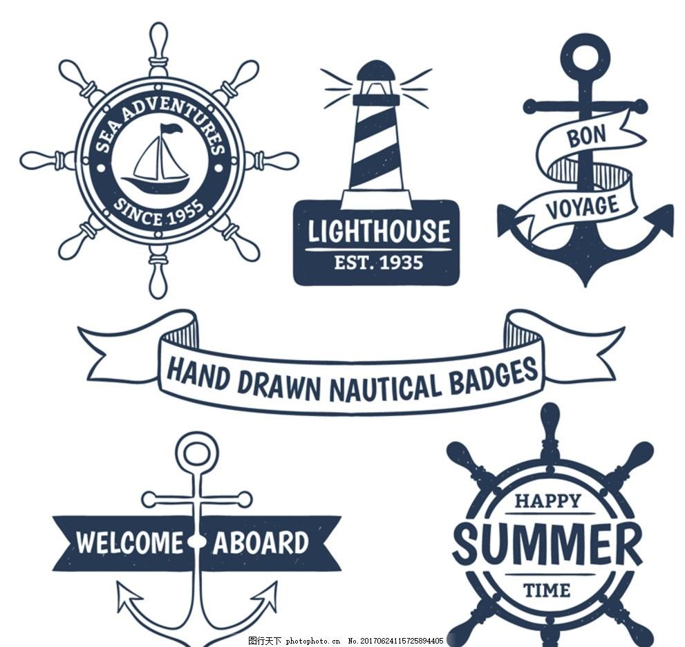 5款手绘航海徽章矢量素材