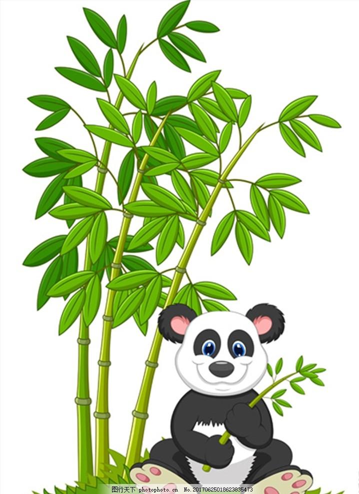 熊猫树叶竹林 卡通 动漫 矢量素材 插画 竹叶 动物园海报 可爱