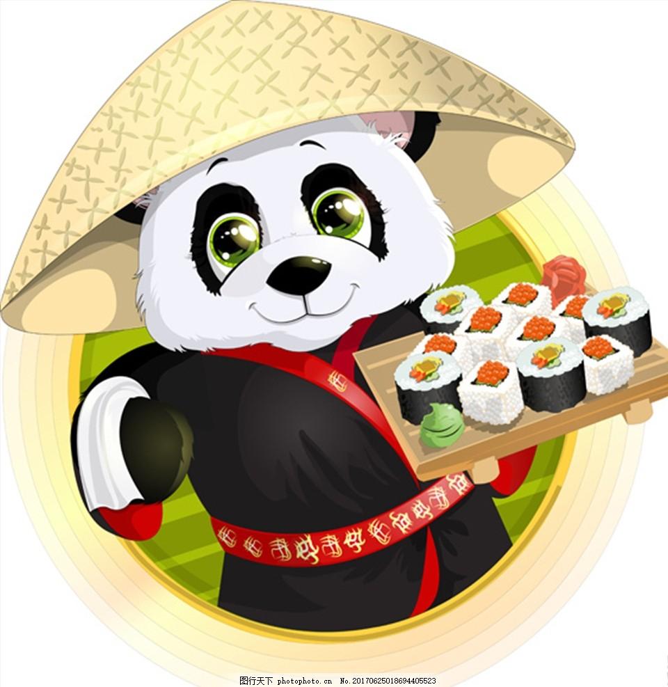 美食熊猫卡通 动漫 矢量素材 插画 竹叶 动物园海报 可爱 动漫动画