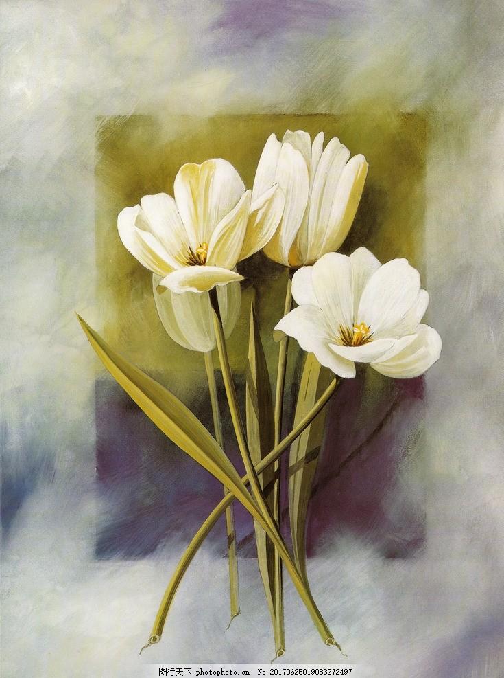 美式 花卉装饰油画 欧美 美式 乡村绘画 田园装饰画 植物花卉 郁金香