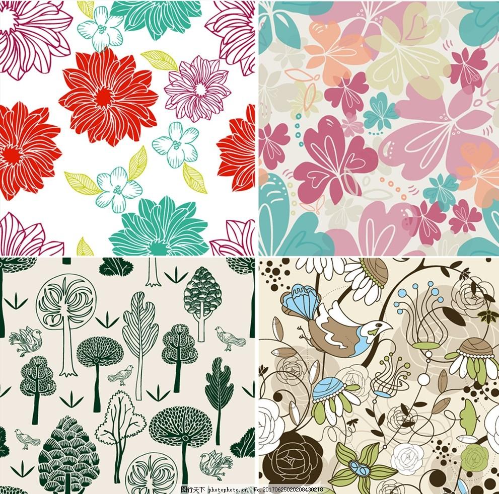 矢量线描花鸟背景 家纺四件套 欧式花纹 四方连续 定位印花 面料图案