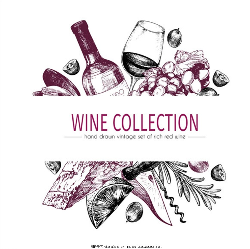 红酒洋酒海报 手绘 插画 酒杯 葡萄 水果 酒吧海报 水果海报