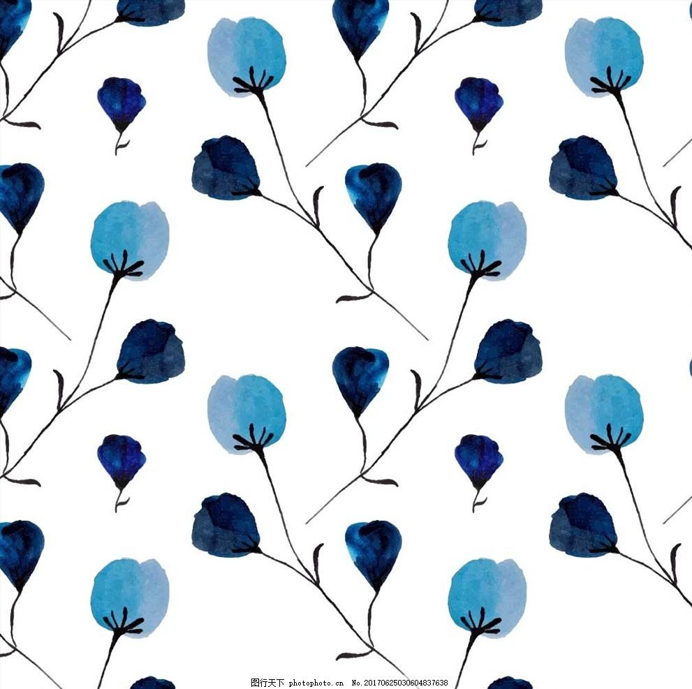 手绘植物花朵花卉四方连续底纹 小花 手绘花朵 绿叶 勾花 叶子