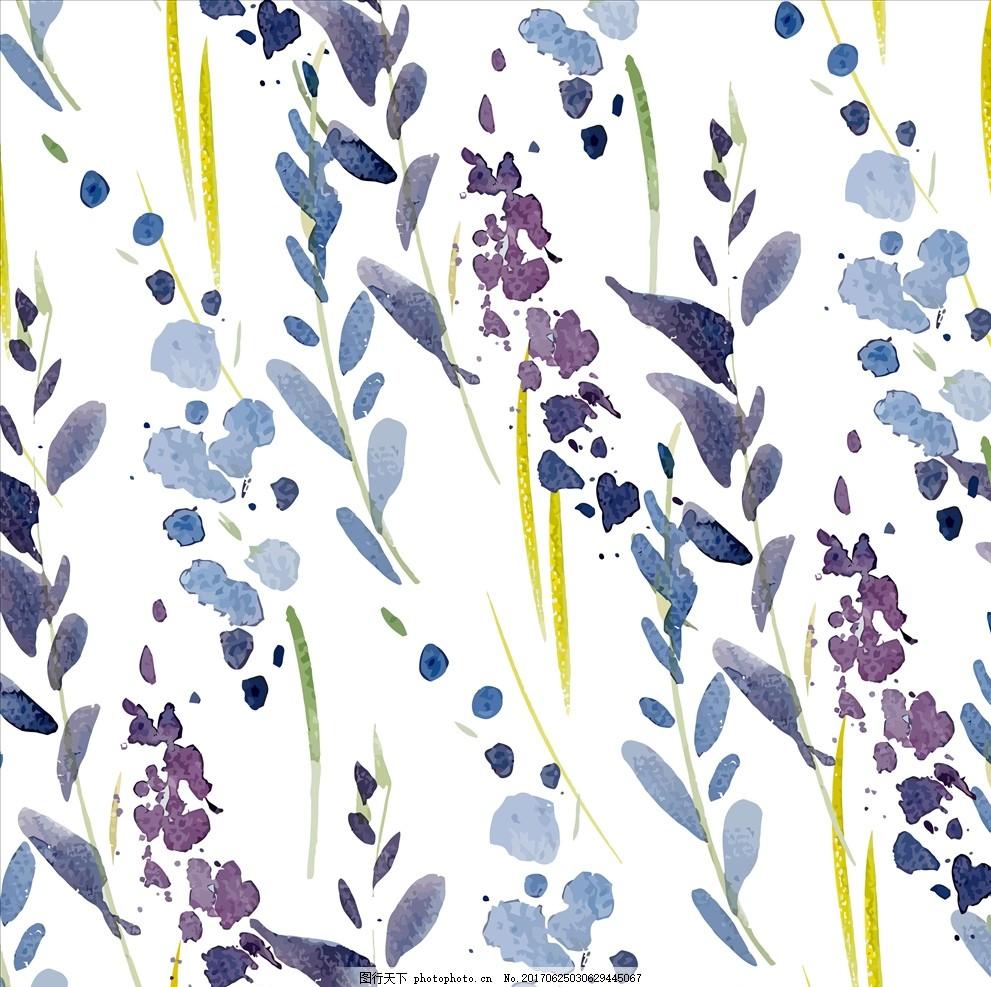 手绘植物绿叶四方连续底纹 花 小花 手绘花朵 花朵花卉 植物花朵