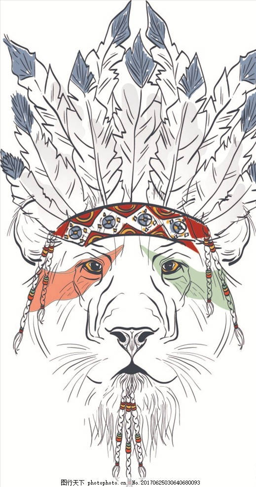 印第安羽毛老虎头矢量图