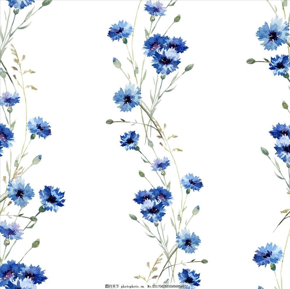 植物花卉四方连续底纹 小花 手绘花朵 花朵花卉 植物花朵 绿叶