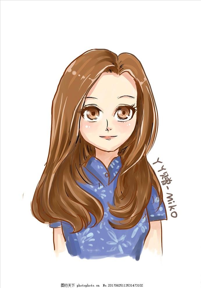 长发美女漫画人物 上色 原创漫画卡通系列 动漫动画 动漫人物