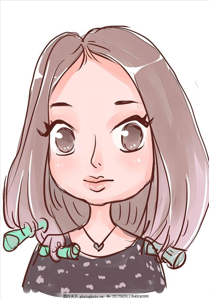做发型的女孩卡通头像 上色 原创漫画卡通系列 动漫动画 动漫人物