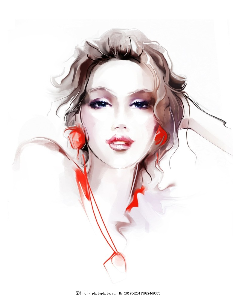 美女 现代美女 手绘美女 美女水彩 水彩 美女图 红唇 红唇美女 气质