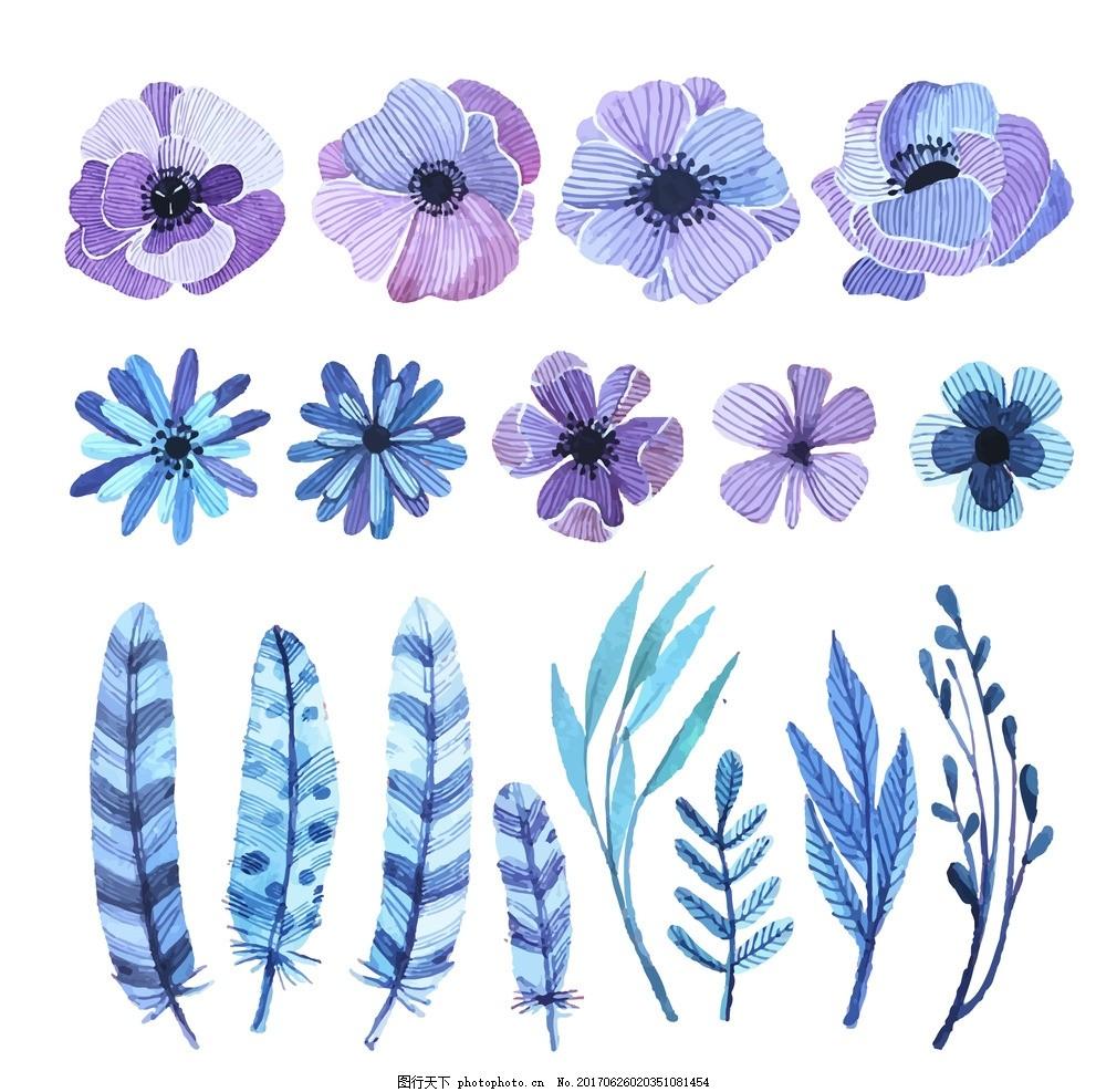 手绘水彩植物 手绘 水彩 水彩植物 叶子 设计 底纹边框 花边花纹 eps