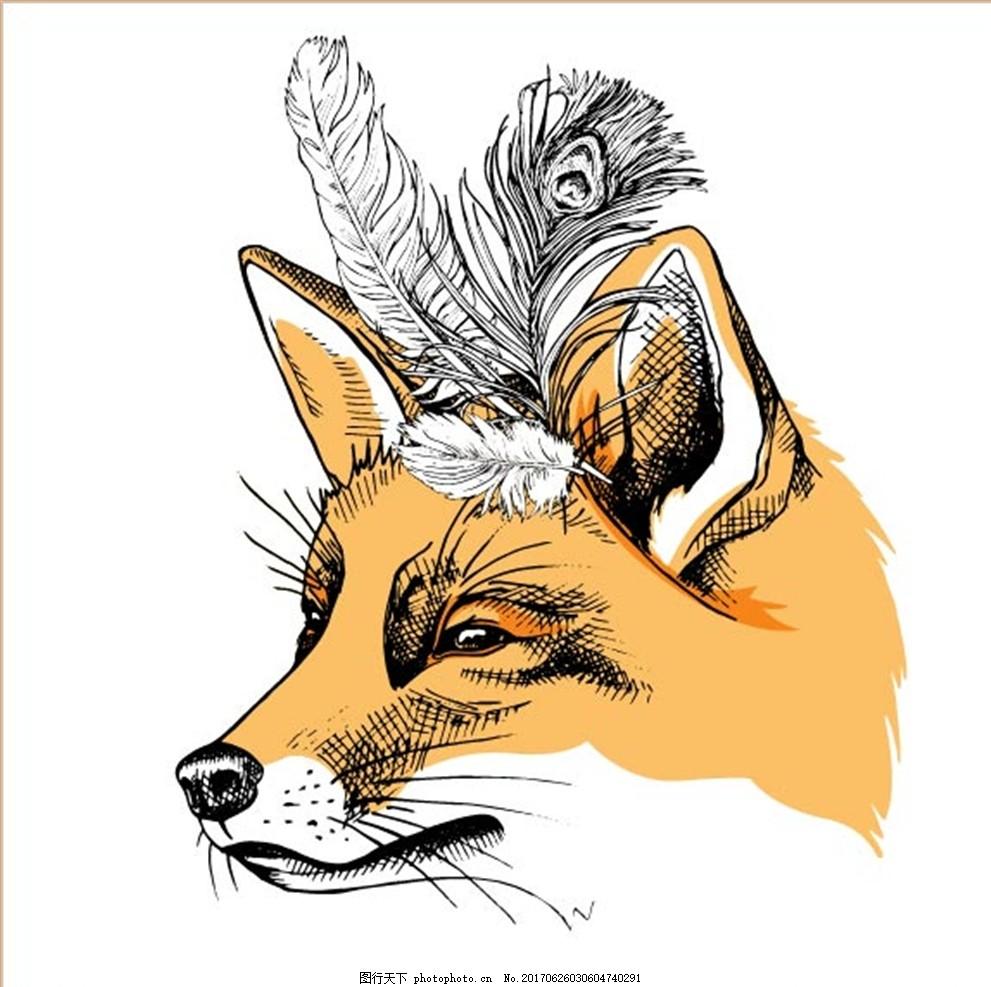 手绘动物 卡通动物 线描动物 动物头像 狐狸 手绘狐狸头 线描狐狸头