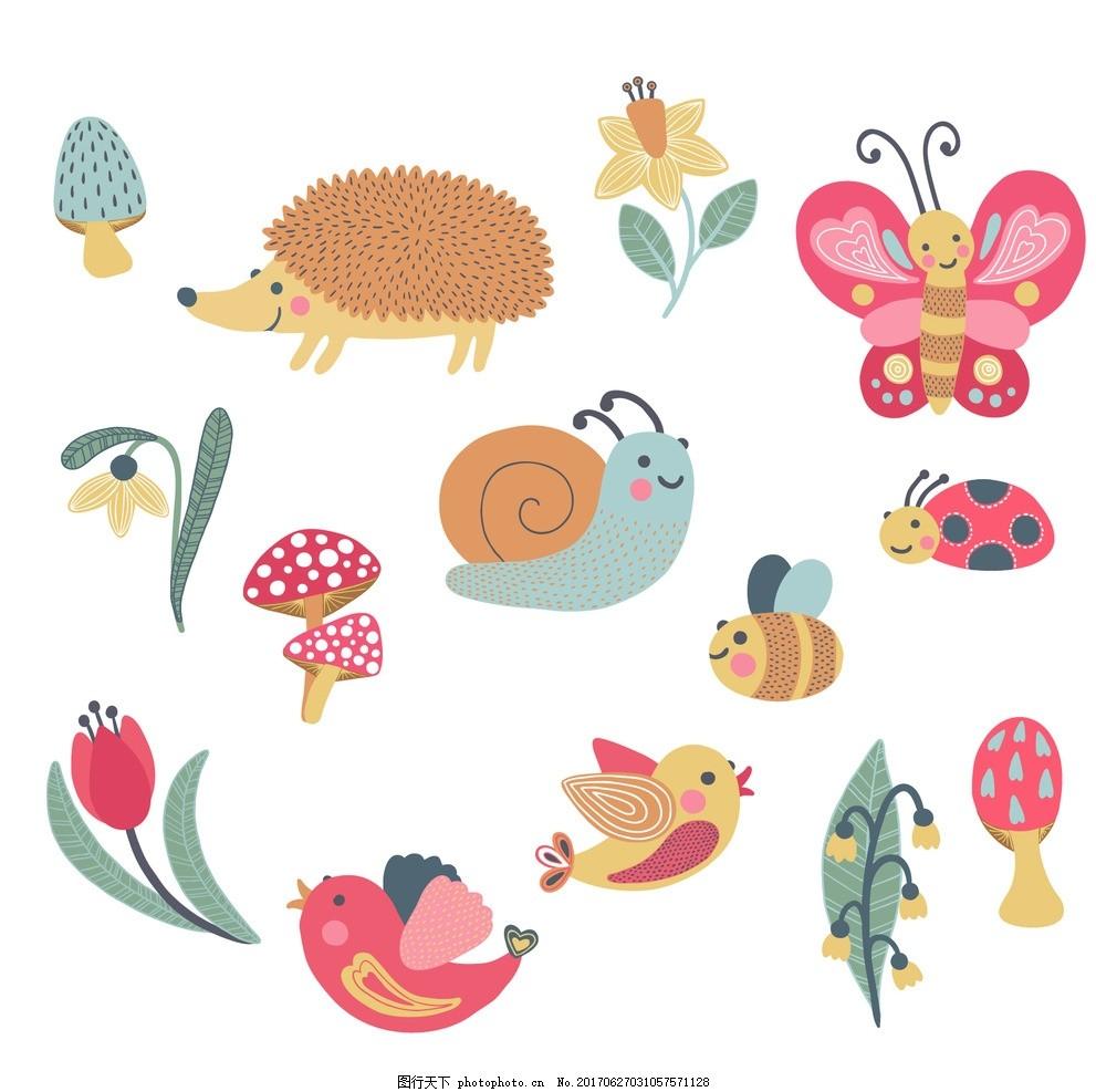 手绘可爱的动物