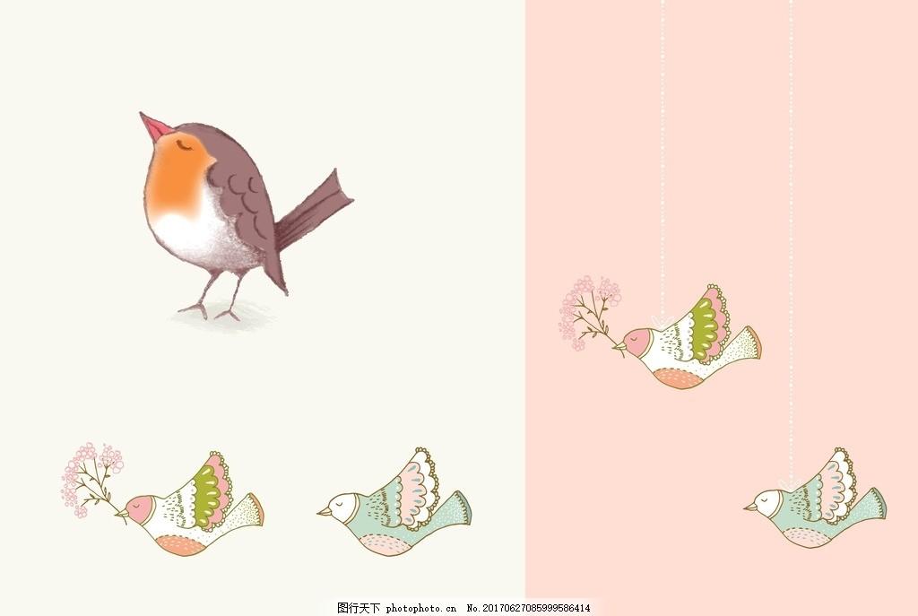 水彩小鸟 彩绘 花卉 矢量图 素材 水彩 清新 可爱 花朵 花环 美丽