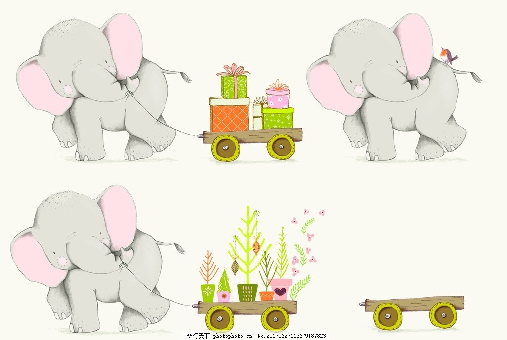 卡通大象 动物插画 插画 儿童绘本 儿童画画 卡通动物漫画 儿童插画